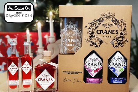 £19.99 instead of £31 for a Cranes Drinks Christmas stocking filler bundle including two 50ml bottles of Cranes cranberry gin, one 200ml bottle of cranberry and blood orange liqueur, two 500ml bottles of cider and a branded glass - save 36%