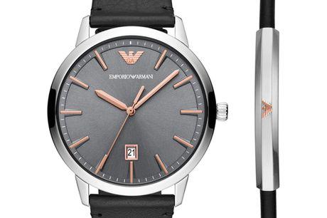 Emporio Armani Gavesæt AR80026 Ditur.dk er autoriseret forhandler af Emporio Armani. Det betyder at du er sikret ægtheden af dit ur samt har du får 2-års garanti. Alle vores Armani ure bliver sendt med original urboks og garantibevis. Med dette Arman