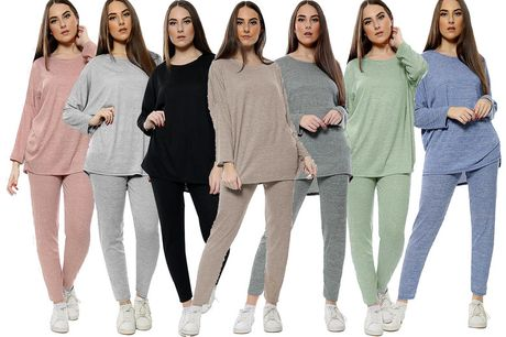 £14.99 for a women's two-piece tracksuit in mocha, dark grey, black, khaki, light grey, dusky pink or denim blue from Love My Fashions