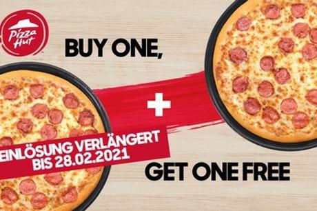 2-für-1 Pizza-Angebot auf alle Teigsorten und Beläge, im Restaurant oder zum Mitnehmen, bei Pizza Hut