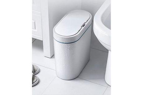 Intelligent skraldespand i smalt vandtæt design - perfekt til badeværelset!
