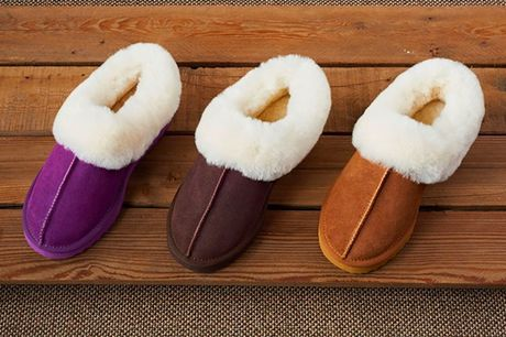 £24.99 for a pair of women's sheepskin slippers in Pink, Chestnut or Coffee in UK sizes 3-8 from Evaniy!