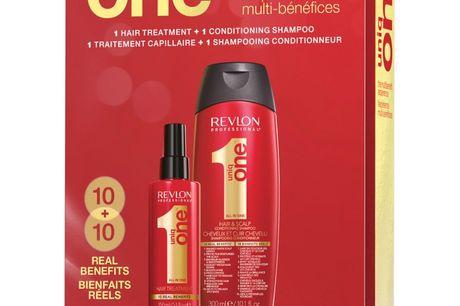 Uniq One All In One Duo Set (Limited Edition). Uniq One All In One Shampoo Set er det ultimative hårpleje sæt, til en yderst skarp pris. I dette sæt får du bestselleren Uniq One All In One Treatment sammen med Uniq One All In One Conditioning Shampoo. Beg
