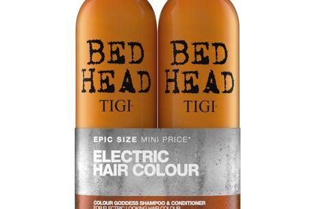 TIGI Bed Head Colour Goddess Duo 2x750 ml (u. pumpe). Tigi Bed Head Colour Goddess Tweens Duo Set består af en shampoo og conditioner til et farvebehandlet hår. Sættet indeholder: 1 stk. TIGI Bed Head Colour Goddess Oil Infused Shampoo for Coloured Hair 7