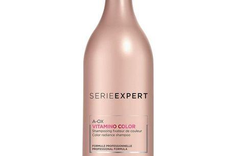 L'Oreal Serie Expert Vitamino Color A-OX Shampoo 1500 ml M. Pumpe. L'Oréal Serie Expert A-OX Vitamino Color Shampoo er med UV-Filter og er en shampoo der virker effektivt og koncentreret i håret. Denne shampoo er beriget med tekoferol, panthenol og neohes