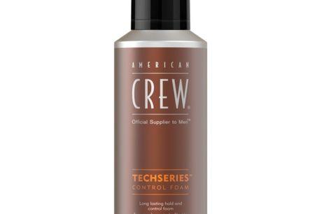 American Crew Techseries Control Foam 200 ml. American Crew Techseries Control Foam er en lækker skum, der løfter håret og tilfører volume, uden at tynge. Udover at have en attraktiv og maskulin duft, efterlader den håret med en sundere glans, og giver ti