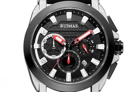 Ruimas RN580GS-BK-1 Ruimas ure er unikke, ekstravagante og tør skille sig ud fra mængden. Deres design er nytænkende indenfor urbranchen og de udfordrer det traditionelle design. Tør du skille dig ud fra mængden, så er Ruimas sikkert er perfekt match fo
