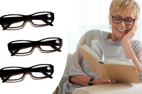 Ekstra læsebriller. Få 2 eller 4 par læsebriller og slip for besværet med at lede efter briller, der er blevet væk - inkl. fragt