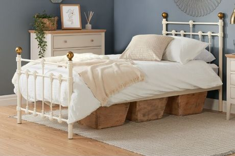 From £135 for a Single Cream Metal Bed Frame Deal from FTA Furnishing - save up to 32%