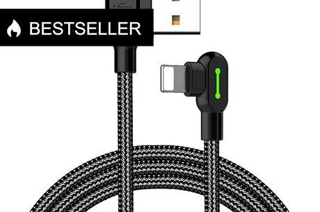 Titan power opladerkabel i robust kvalitet lavet i nylon - 3 meter (iPhone). Robust kvalitets Lightning Kabel - 3 Dette må helt klart være det sidste kabel du kommer til at købe! Dens smarte design gør det nemmere for dig, at benytte mobilen når den er ti