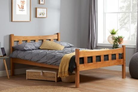 From £149 for an elegant antique pine 3ft single or 4ft6 double varnished pine slatted bed frame from FTA Furnishing - save up to 40%