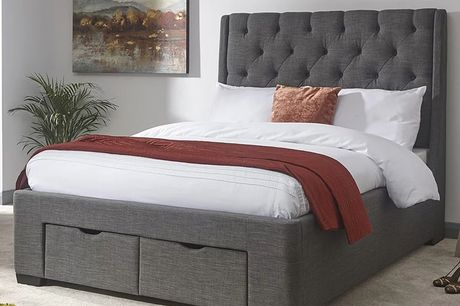 From £349 instead of £599.99 for a grey fabric storage bed from FTA Furnishing - choose from two sizes and mattress option and save up to 42%