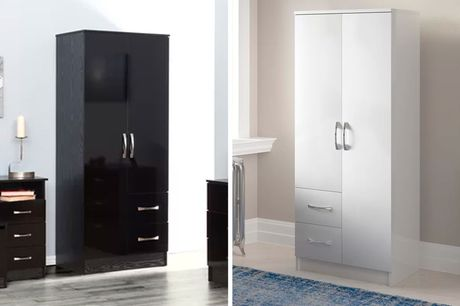 £109 for a glossy two-door combination wardrobe in grey oak and white, grey oak and black, black, white or black and walnut from Accessory Box