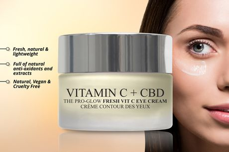 £12.99 instead of £59 for one pot of 20ml Pro-Glow Fresh vitamin C and CBD eye cream, £23.99 for two pots from London Botanical Laboratories – save up to 78%