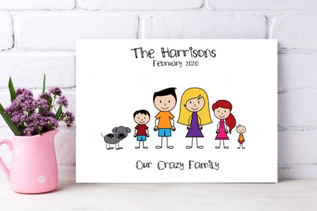From £7.95 for a personalised stick family canvas from Colour House