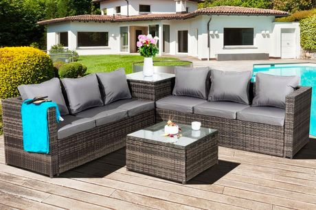 £599 for a grey Malta six-seater polyrattan garden furniture set from Oseasons®