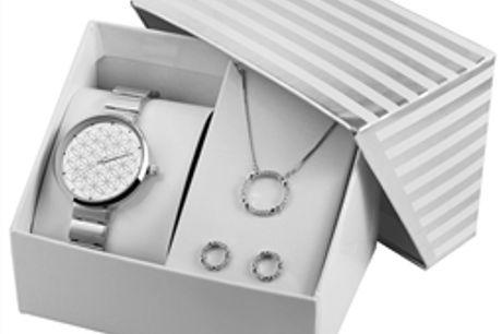 Conjunto Relógio com Colar e Par de Brincos Silver Circles - 1800187-001 por 34.98€ PORTES INCLUÍDOS