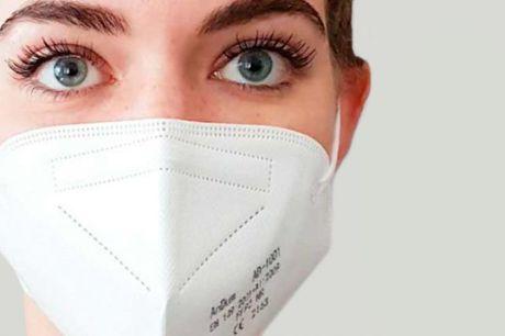 10 styk FFP2 masker Disse mundbind har 5 lag, som er med til at sikre et effektivt filter, der beskytter bedre og kan holde til mere end de klassiske engangsmundbind. FFP2-mundbindene er fremstillet i et tredimensionelt design, hvilket giver mere plads ti