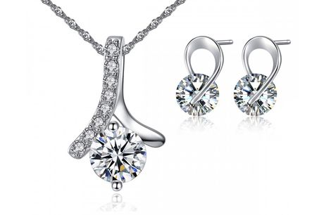 £9.99 instead of £59 for a crystal swirl earring & necklace set from Your Ideal Gift - save 83%