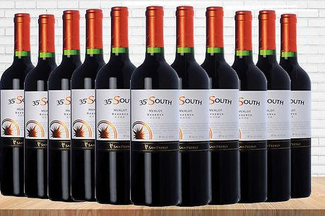 6 or 12 Bottles of 35 South Merlot 18 Wine     Stock up on red for your next party or to accompany a fine meal     This silky and sweet red is perfect for drinking with meat and cheese     Features powerful red fruit aromas     Bursting with juicy plu