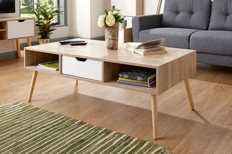 £125 for a retro-inspired contemporary coffee table in white and oak from FTA Furnishing!