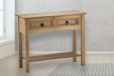£115 instead of £234.99 for a 2-drawer pine table with shelf from FTA Furnishing - save 51%