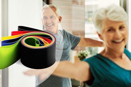 Vil du optimere hjemmetræningen, så skal disse træningselastikker nok blive et hit - du får hele 5 stk. med forskellig modstand - inkl. fragt