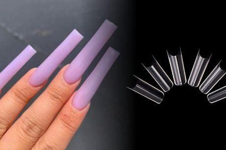 Ekstra lange og firkantede negle-tipper til flotte negle