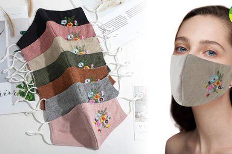 Stilfuld genanvendelig ansigtsmaske med fint broderet print