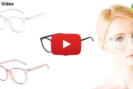 Computerbriller i stilfuldt design med gennemsigtigt eller sort stel