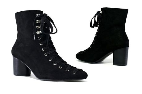 £24.99 for a pair of women's lace-up heel boots in black or cognac from Shoe Fest!