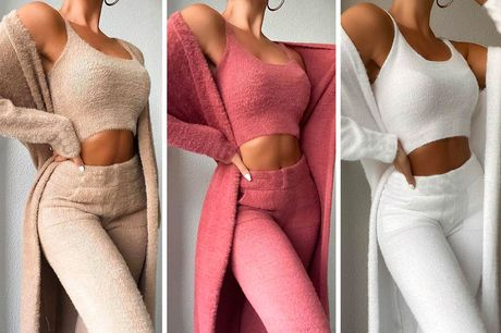 £19 for a three-piece long cardigan, crop top and high waisted trousers loungewear set in UK sizes 6-14 from Oh My Boo!