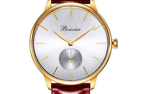 Bonvier Navona Gold Bonvier blev grundlagt af to italienske urentusiaster og kommer fra Rom. Bonvier et et nyt urbrand, der har oplevet stor fremgang med deres fokus på minimalisme og høj kvalitet. De to urentusiasters mål var at skabe et brand, hvor man