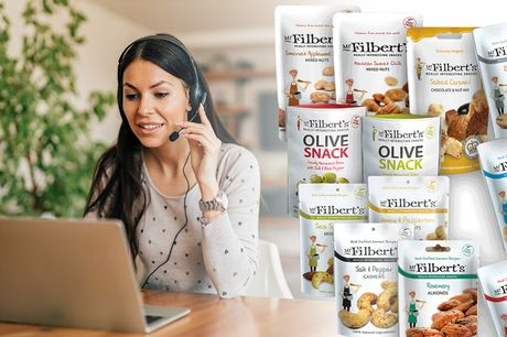 £15 instead of £30 for a 'work from home' selection box from Mr Filbert's including 16 snack packs - enjoy their moreish olive snack, cashews, almonds, peanuts and more and save 50%