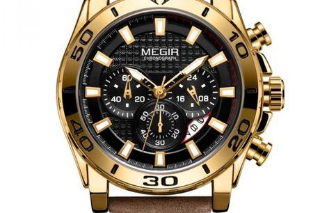Megir LM101930 Megir Watches er et brand, der har fokus på høj kvalitet til en overkommelig pris. Der findes mange ure til under 1000 kr. på markedet, men hos Megir er der ikke gået på kompromis med prisen, hvilket betyder, at du får rigtig meget ur for