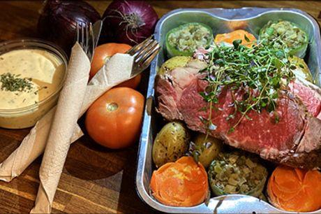 Takeaway for 2 - alt er klart - lav selv derhjemme.. - UHM! Glæd jer til 200 g. Braziliansk oksefilet med sæsonens grøntsager, kartofler og bearnaisesauce for 2 personer. Værdi kr. 399,-.