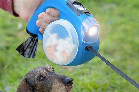 Smart Udtrækkelig hundesnor 6-i-1. En komplet og praktisk multifunktionel hundesnor, som er perfekt til at gå med kæledyr og du har alt du har brug for lige ved hånden og det fylder mindst muligt plads   Denne forlængelige og udtrækkelige snor har flere
