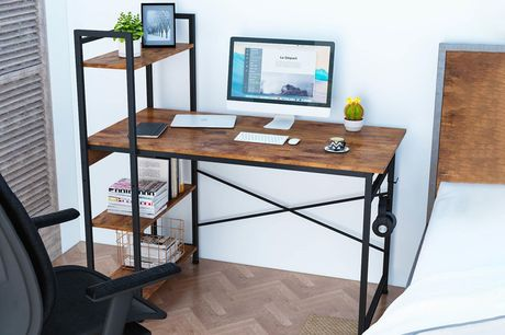 £59 for a rustic metal frame computer desk with shelves from Big furniture Warehouse!