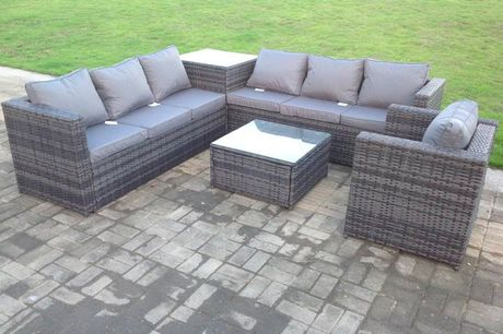 £649 instead of £1499.99 for a seven-seater grey rattan garden furniture set including a sofa set, armchair and two coffee tables from Fimous - save 57%