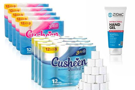 £17.99 for 60 rolls of Cusheen quilted 3ply toilet paper in Unscented or Cherry Scent and a 100ml bottle of hand gel sanitiser from GMS!