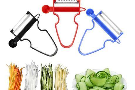 Magic Trio Grøntsagsskræller - 3 stk. Spar masser tid i køkkenet med disse smarte skrællere, den har en dobbeltside, hvilket gør effekten meget bedre og nemt at bruge. Sættet indeholder 3 stk   Sættet indeholder:  1 stk. blå - Tyndskræller, kan bruges ti
