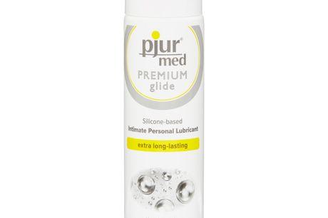 Pjur MED PREMIUM Silikone Glidecreme 100 ml. Pjur Premium er en silikone glidecreme af højeste kvalitet. Renheden af ingredienserne gør den egnet selv til de mest følsomme hudtyper. Produktet lægger en beskyttende hinde på huden uden at blokere porerne, s