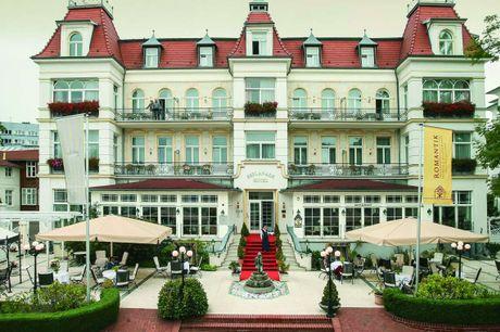 SEETEL Hotel Esplanade & Villa Aurora. Central beliggenhed i den populære badeby, Heringsdorf, på Usedom. 3 dage inkl. - 2 overnatninger m. morgenmad - 2 x aftenmenu/buffet - 2 x drink til maden - 1 flaske prosecco - 1 dags cykelleje