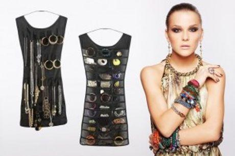 Smykkeopbevarings Kjole.  Smykkeopbevaring designet som en kjole med 2 forskellige sider - passer ligeind i skabet.