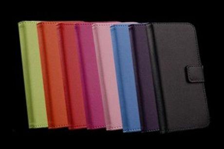Billige Læder Covers.  RESTSALG - Læder coverstil både iPhone og Samsung Galaxy -indbygget kortholder og stander.