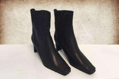 Læder Ankelstøvler.  Elegante og vandafvisendeankelstøvler i læder - fås i flere størrelser.