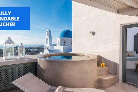 £105 & up -- Santorini: boutique hilltop apartment, 58% off