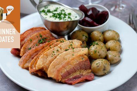 Klassisk dansk til en særlig aften. TAKE AWAY: Glæd dig til stegt flæsk og persillesovs, citron fromage og øl