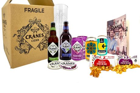 £17.99 instead of £28.99 for a small 'Pub In A Box' from Cranes Drinks including six cider and beer drinks, a branded pint glass, coasters, snacks and a pub quiz leaflet, or £25.99 for a large box including nine drinks - save up to 34% and cheers!