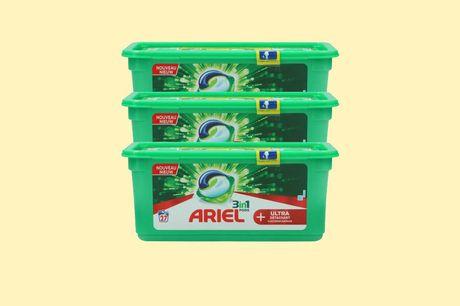 Set van 3 Ariel All-in-1 pods Goed voor 81 wasbeurten<br /> Met ultra vlekverwijderaar<br /> Frisse geur